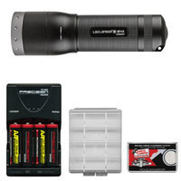 LED Lenser M14X LED Flashlight with Intelligent Clip (650 Lumens) with 4 AA Rechargeable Batteries + Charger + Battery Case + Cleaning Cloth