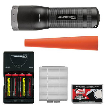 LED Lenser M14X LED Flashlight with Intelligent Clip (650 Lumens) with Signal Cone + 4 AA Rechargeable Batteries + Charger + Battery Case + Cleaning Cloth