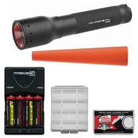 LED Lenser P14.2 350 Lumens Flashlight with Carrying Case with Signal Cone + 4 AA Rechargeable Batteries + Charger + Battery Case + Cleaning Cloth