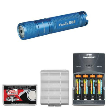 Fenix E05 LED Waterproof Mini Torch Flashlight (Blue) with 4 AAA Rechargeable Batteries & Charger + Case + Cleaning Cloth