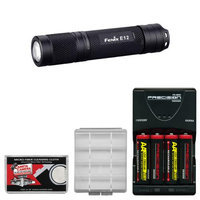 Fenix E12 LED Mini Torch Flashlight (Black) with 4 AA Rechargeable Batteries & Charger + Case + Cleaning Cloth