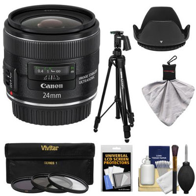 Canon EF 24mm f/2.8 IS USM Lens with Tripod + 3 Filters + Hood + Kit