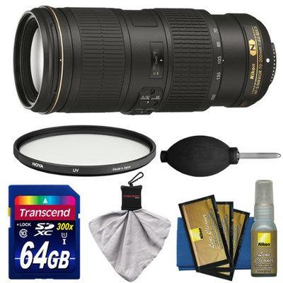 Nikon 70-200mm f/4G VR AF-S ED Nikkor-Zoom Lens with UV Filter + 64GB SD Card + Kit