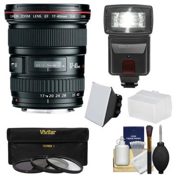 Canon EF 17-40mm f/4 L USM Zoom Lens with 3 Filters + Flash & 2 Diffusers + Kit