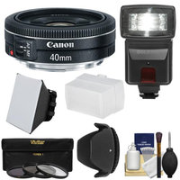 Canon EF 40mm f/2.8 STM Pancake Lens with 3 Filters + Hood + Flash & 2 Diffusers + Kit