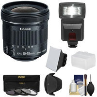 Canon EF-S 10-18mm f/4.5-5.6 IS STM Zoom Lens with Flash + 3 Filters + Diffusers + Hood + Kit