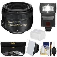 Nikon 50mm f/1.4G AF-S Nikkor Lens with 3 Filters + Flash & 2 Diffusers + Kit