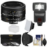 Nikon 50mm f/1.8D AF Nikkor Lens with 3 Filters + Hood + Flash & 2 Diffusers + Kit