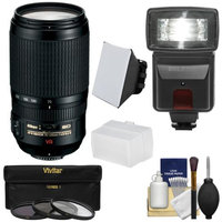 Nikon 70-300mm f/4.5-5.6 G VR AF-S ED-IF Zoom-Nikkor Lens with 3 Filters + Flash & 2 Diffusers + Kit