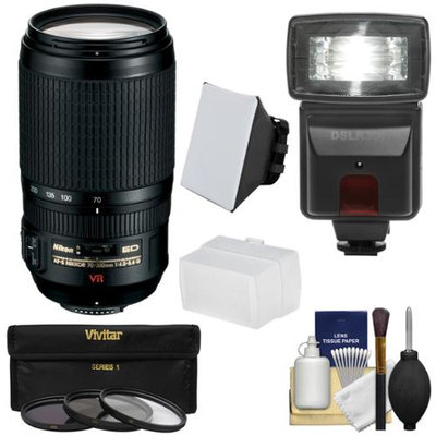 Nikon 70-300mm f/4.5-5.6 G VR AF-S ED-IF Zoom-Nikkor Lens with 3 Filters + Flash & 2 Diffusers + Kit
