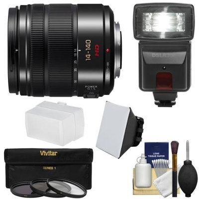Panasonic Lumix G X Vario 14-140mm f/4.0-5.8 OIS Zoom Lens for G Series Cameras with 3 Filters + Flash & 2 Diffusers + Kit