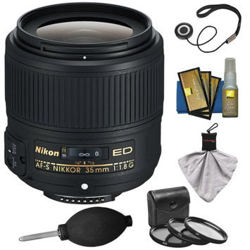 Nikon 35mm f/1.8G AF-S ED Nikkor Lens with 3 UV/CPL/ND8 Filters + Cleaning & Accessory Kit