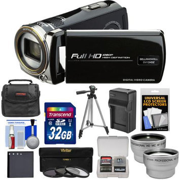 Bell & Howell DV12HDZ 1080p HD Video Camera Camcorder (Black) with 32GB Card + Battery & Charger + Case + Tripod + 3 Filters + Tele/Wide Lens Kit