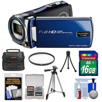 Bell & Howell DV12HDZ 1080p HD Video Camera Camcorder (Blue) with 16GB Card + Case + Tripod + Filter + Accessory Kit