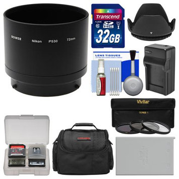 Bower ANP53072 Conversion Adapter Tube for Nikon Coolpix P530 Camera (72mm) with 32GB Card + Case + EN-EL5 Battery & Charger + 3 UV/CPL/ND8 Filters + Lens Hood