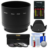 Bower ANP53072 Conversion Adapter Tube for Nikon Coolpix L830 Camera (72mm) with Case + Batteries & Charger + 3 UV/CPL/ND8 Filters + Lens Hood Kit