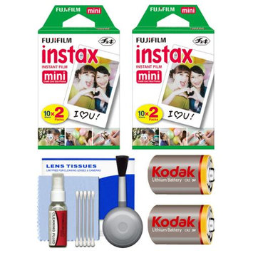 Essentials Bundle for Fujifilm Instax SHARE SP-1 Instant Film Smartphone Printer (White) with 40 Twin Color Prints + (2) CR2 Batteries + Cleaning Kit