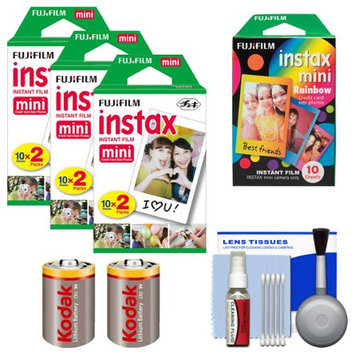 Essentials Bundle for Fujifilm Instax SHARE SP-1 Instant Film Smartphone Printer (White) with 60 Twin Color & 10 Rainbow Prints + (2) Batteries Kit