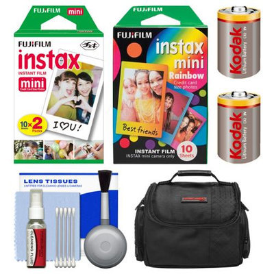 Essentials Bundle for Fujifilm Instax SHARE SP-1 Instant Film Smartphone Printer (White) with 20 Twin Color & 10 Rainbow Prints + Case + (2) CR2 Batteries + Cleaning Kit