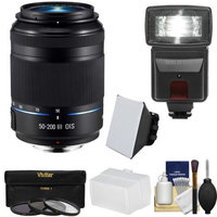 Samsung 50-200mm f/4.0-5.6 NX ED OIS III Telephoto Zoom Lens (Black) with Flash + 3 Filters + Diffusers + Kit