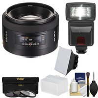 Sony Alpha A-Mount 50mm f/1.4 Lens with Flash + 3 Filters + Diffusers + Kit