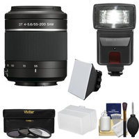 Sony Alpha A-Mount 55-200mm f/4-5.6 DT SAM Zoom Lens with Flash + 3 Filters + Diffusers + Kit