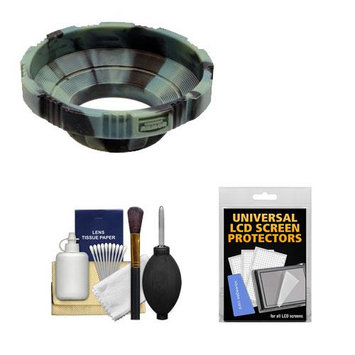 Made Product MADE Rubberized Camera Armor Lens Hood + Cap Leash (Camo) fits 52mm, 55mm, 58mm 62mm, 67mm Lenses + Cleaning Kit