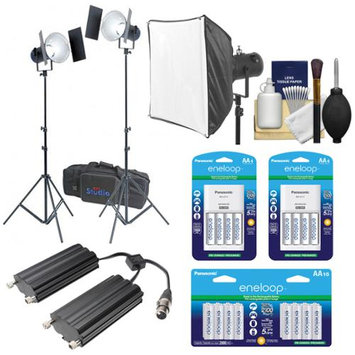 RPS Studio RS-5520 CooLED 50W High Power Light Kit with Softbox + Twin Battery Case + 24 AA Batteries & Charger Kit