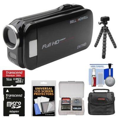 Bell & Howell Slice2 DV7HD 1080p HD Slim Video Camera Camcorder (Black) with 16GB Card + Case + Flex Tripod + Kit