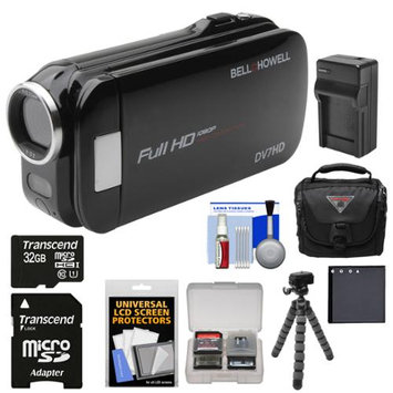 Bell & Howell Slice2 DV7HD 1080p HD Slim Video Camera Camcorder (Black) with 32GB Card + Battery + Charger + Case + Flex Tripod + Kit
