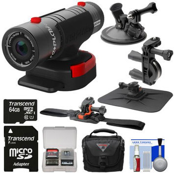 Replay XD 1080 Mini Digital HD Video Camera Camcorder with 64GB Card + Car Suction Cup Dashboard Handlebar Bike & Helmet Mounts + Case + Kit