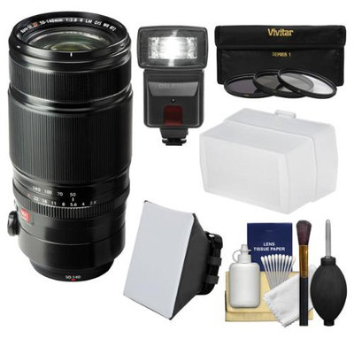 Fujifilm 50-140mm f/2.8 R LM OIS WR Zoom Lens with Flash + Soft Box + Diffuser + 3 UV/CPL/ND8 Filters + Kit