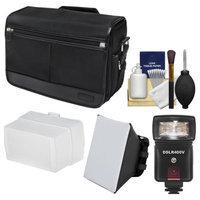 Nikon DSLR Camera/Tablet Messenger Shoulder Bag with LED Video Light & Flash + Soft Box + Diffuser + Kit