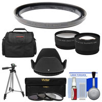 Bower FA-DC58E Conversion Adapter Ring for Canon PowerShot G1 X Mark II Camera (58mm) with Case + Tripod + Hood + Tele/Wide Lenses + 3 UV/CPL/ND8 Filters + Kit