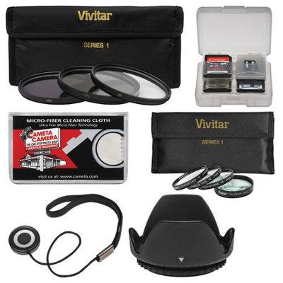 Vivitar 3-Piece Multi-Coated HD Filter Set (58mm) + Macro Set + Lens Hood + Kit