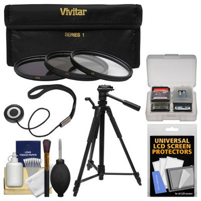 Vivitar 3-Piece Multi-Coated HD Filter Set (62mm UV/CPL/ND8) with Tripod + Accessory Kit