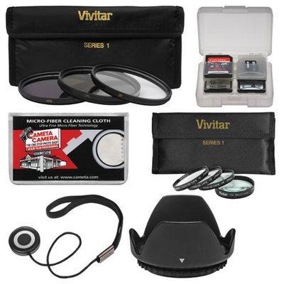 Vivitar 3-Piece Multi-Coated HD Filter Set (62mm) + Macro Set + Lens Hood + Kit