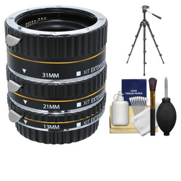 Xit Group Xit Pro Series AF Macro Extension Tube Set (for Canon EOS Cameras) with Tripod + Accessory Kit