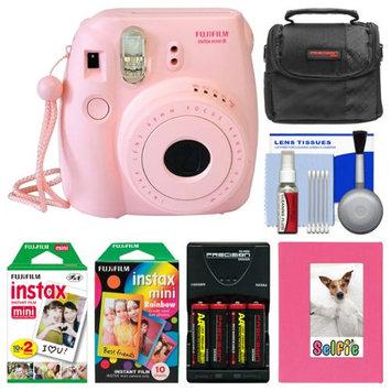 Fujifilm Instax Mini 8 Instant Film Camera (Pink) with Photo Album + Instant Film & Rainbow Film + Case + Batteries & Charger Kit