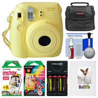 Fujifilm Instax Mini 8 Instant Film Camera (Yellow) with Photo Album + Instant Film & Rainbow Film + Case + Batteries & Charger Kit