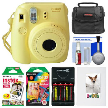Fujifilm Instax Mini 8 Instant Film Camera (Yellow) with Photo Album + Instant Film & Rainbow Film + Case + Batteries & Charger Kit