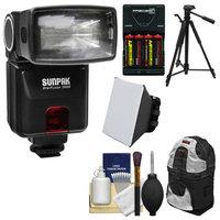 Sunpak DigiFlash 3000 Electronic Flash Unit (for Nikon iTTL) with Backpack + Batteries & Charger + Tripod + Soft Box + Kit