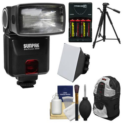 Sunpak DigiFlash 3000 Electronic Flash Unit (for Nikon iTTL) with Backpack + Batteries & Charger + Tripod + Soft Box + Kit