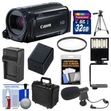 Canon Vixia HF R60 8GB Wi-Fi 1080p HD Video Camcorder with 32GB Card + WP Case + LED Light + Microphone + Battery & Charger + Tripod Kit
