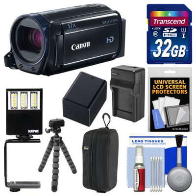 Canon Vixia HF R600 1080p HD Video Camcorder (Black) with 32GB Card + Case + LED Light & Bracket + Battery & Charger + Tripod + Kit