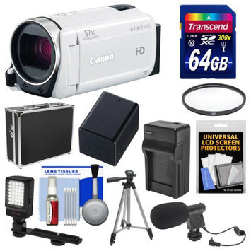 Canon Vixia HF R600 1080p HD Video Camcorder (White) with 64GB Card + Hard Case + LED Light + Microphone + Battery & Charger + Tripod Kit