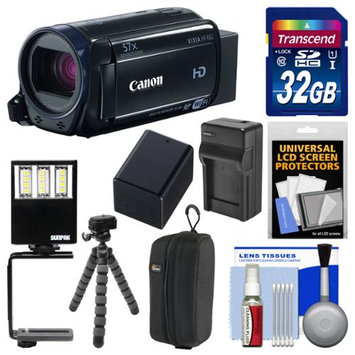 Canon Vixia HF R62 32GB Wi-Fi 1080p HD Video Camcorder with 32GB Card + Case + LED Light & Bracket + Battery & Charger + Tripod + Kit