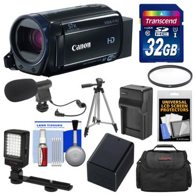 Canon Vixia HF R62 32GB Wi-Fi 1080p HD Video Camcorder with 32GB Card + Case + LED Light + Microphone + Battery & Charger + Tripod Kit