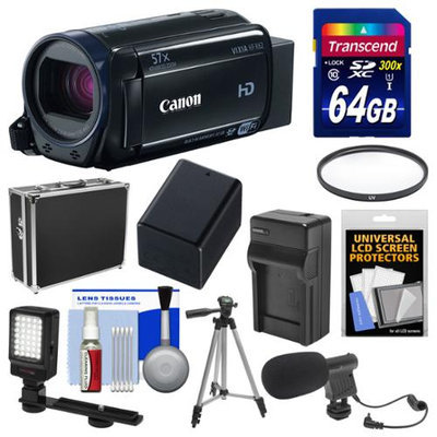Canon Vixia HF R62 32GB Wi-Fi 1080p HD Video Camcorder with 64GB Card + Hard Case + LED Light + Microphone + Battery & Charger + Tripod Kit