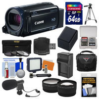 Canon Vixia HF R62 32GB Wi-Fi 1080p HD Video Camcorder with 64GB Card + Case + LED Light + Mic + Battery & Charger + Tripod + Tele/Wide Lens Kit